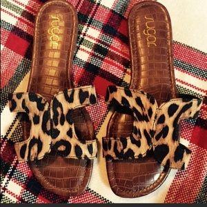 """Leopard """"H"""" Sandals  LAST PAIR"""